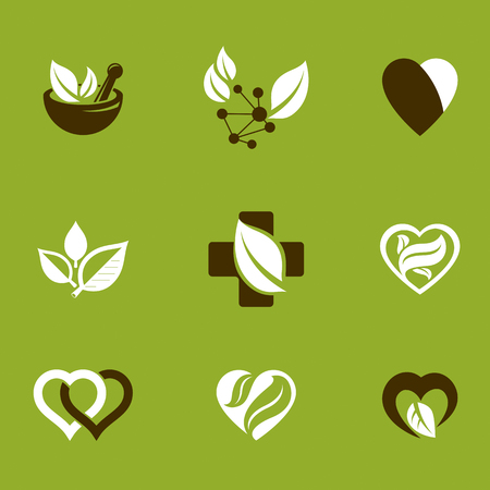 Phytotherapy metaphor, vector graphic emblems collection. Vegetarian lifestyle conceptual illustrations. Иллюстрация