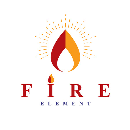 The power of burning fire, nature element vector logo for use in petrol and gas advertising. Vettoriali
