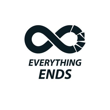 Crashed Infinity Loop vector symbol, conceptual logo special design. Stock Illustratie