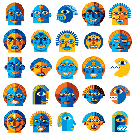 Mythic creatures collection, vector modern art. Set of fantastic odd characters expressing different emotions.