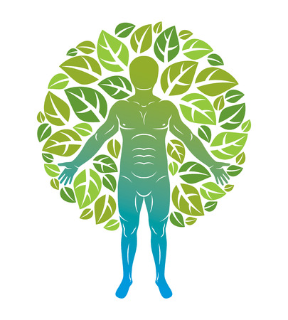 Vector illustration of human being standing on white background and made using natural green leaves. Greenman, pagan god metaphor. 일러스트