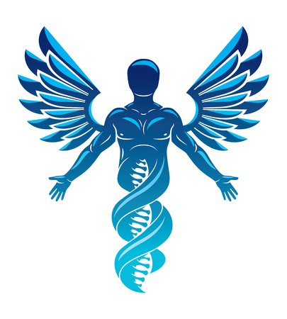 A Vector graphic illustration of strong male made as DNA strands continuation and created with bird wings. Human as the object of biochemistry research. 向量圖像
