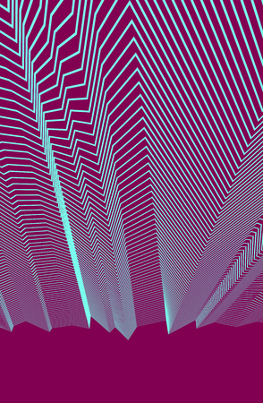 Abstract background with geometric 3d lines pattern, linear vector illustration with copy space for text.  イラスト・ベクター素材