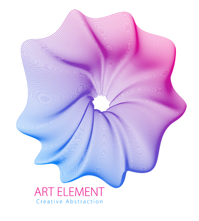 Abstract vector art element for design, linear flower artistic illustration isolated over white background.