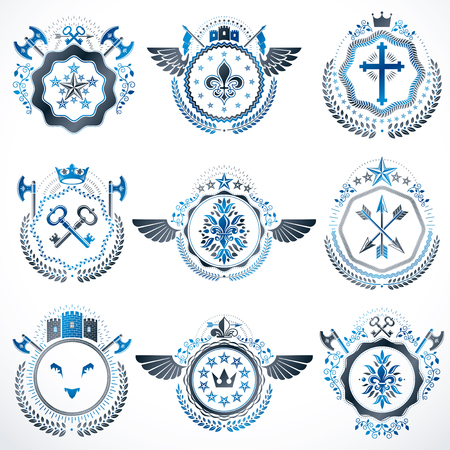 Heraldic decorative emblems made with royal crowns, animal illustrations, religious crosses, armory and medieval castles. Collection of symbols in vintage style. Illustration
