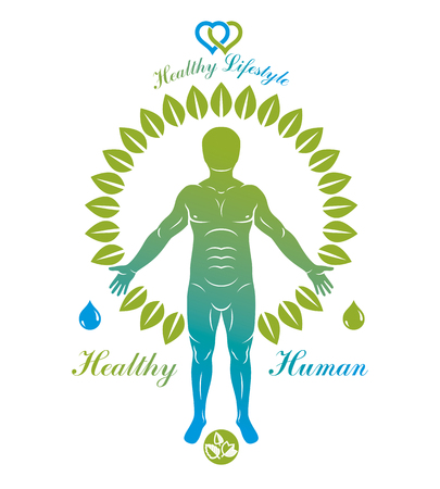 Vector illustration of athletic man created as a continuation of green tree. Restoring to health, homeopathy idea. Illustration