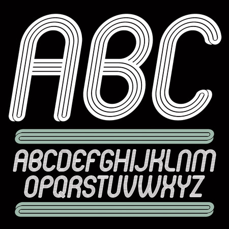 Vector art funky italic typescript with triple parallel lines, can be used as logo design element for event companies.