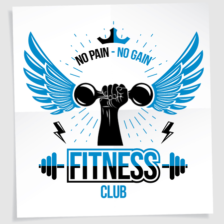 Fitness club advertising poster. Vector composition of muscular bodybuilder arm holds dumbbell sport equipment. No pain, no gain writing.  イラスト・ベクター素材