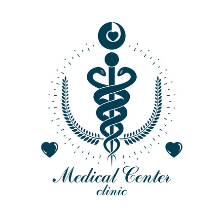 Aesculapius vector abstract business logo for use in medical treatment. Cardiovascular system diseases prevention conceptual emblem. Çizim