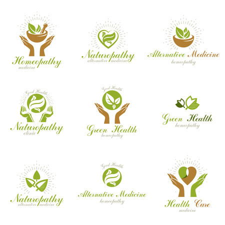 Homeopathy creative symbols collection. Alternative medicine conceptual vector emblems created using green leaves, heart shapes, religious crosses and caring hands.