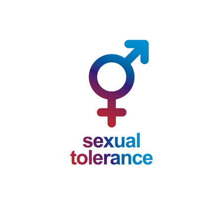 Sexual Tolerance concept. Mars male and Venus female symbols combined in vector icon isolated on white.