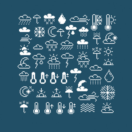 Vector flat 8 bit meteorology icons, collection of simple geometric pixel symbols. Digital web signs created in weather forecast concept.   Çizim