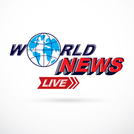Breaking live news inscription, journalism theme vector logo created with Earth planet illustration.