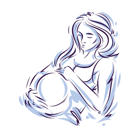 Pregnant woman elegant body silhouette, sketchy vector illustration. Love and gentle feeling concept. Mother Day.