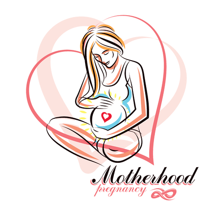 Elegant pregnant woman body silhouette drawing. Vector illustration of mother-to-be fondles her belly. Mothers day conceptual poster