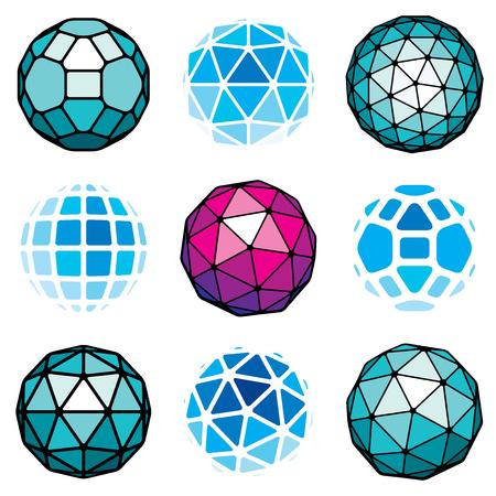 Ensemble d'objets sphériques vectoriels low poly, formes géométriques 3d. Orbes à facettes en trigonométrie en perspective créés avec des triangles, des carrés et des pentagones. Vecteurs