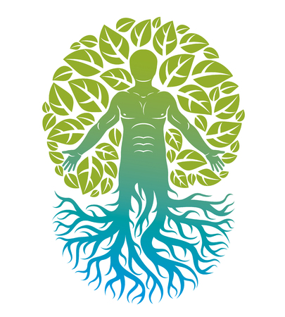 Vector illustration of human being created as continuation of tree with strong roots and composed using natural green tree corona with leaves. Greenman, pagan god metaphor.