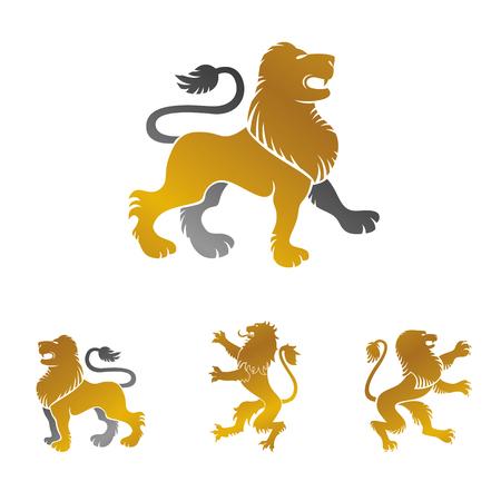 Lion ancient emblems elements set. Heraldic vector design elements collection. Retro style label, heraldry icon.