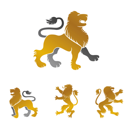 Lion ancient emblems elements set. Heraldic vector design elements collection. Retro style label, heraldry icon.