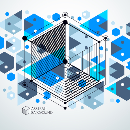 Engineering technology vector blue wallpaper made with 3D cubes and lines. Engineering technological wallpaper made with honeycombs. Abstract technical background. Illustration