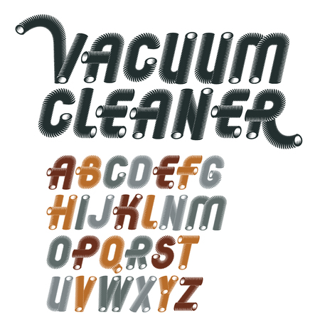 Vector trendy capital English alphabet letters collection. Retro italic type font, script from a to z best for use in logotype creation. Made with industrial hose, 3d cylinder tube design.