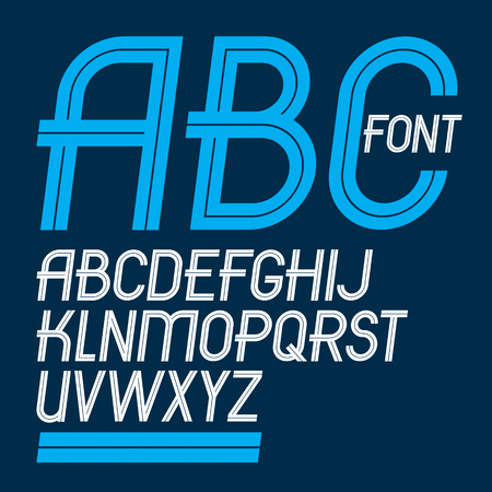 Set of vector delicate slim upper case English alphabet letters made with white lines, for use as design elements for press and blogging.