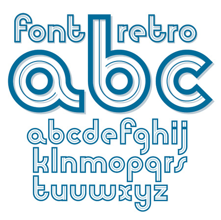 Set of vector retro old lower case English alphabet letters. Can be used for icon creation.