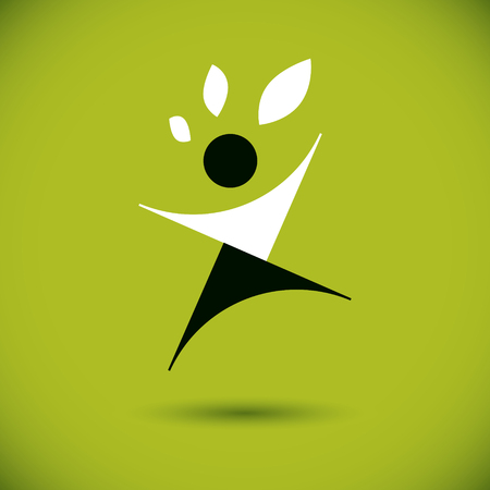 Vector illustration of excited abstract man with raised reaching up. Go green idea creative icon. Wanderlust and countryside vacation idea symbol.