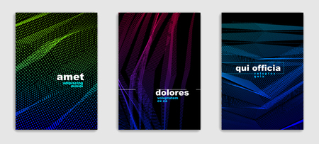 Abstract lines vector minimal modern brochures design set, cover templates, geometric halftone gradient. For Banners, Placards, Posters, Flyers. Beautiful and special, pattern texture.