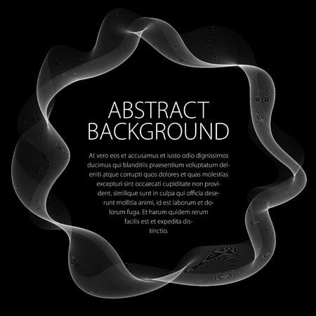 Round frame of flowing smoke on a black background.  イラスト・ベクター素材
