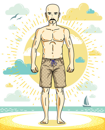 Handsome bald adult man with stylish beard and mustaches standing on tropical beach in bright shorts. Vector nice and sporty man illustration. Summertime theme clipart.