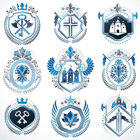 Set of blue emblem template crowns, medieval castles, armory and crosses. Banque d'images - 99343072