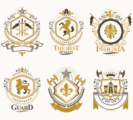 Heraldic Coat of Arms created with vintage vector elements, animals, towers, crowns and stars. Classy symbolic emblems collection, vector set.