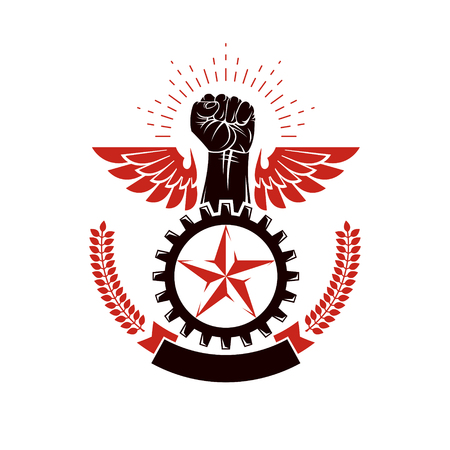 Winged clenched fist of angry man vector emblem. Power and authority conceptual illustration, nonconformist idea.