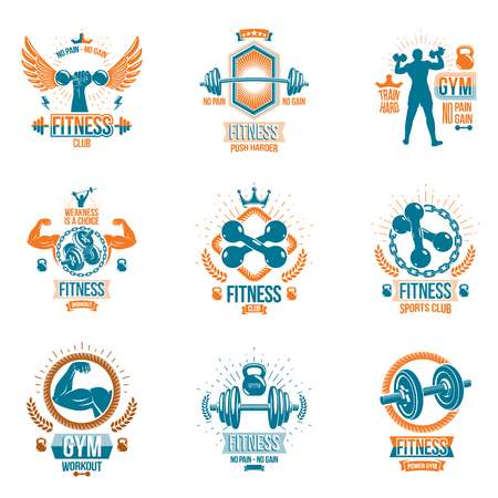 Vector weightlifting theme logotypes and inspirational leaflets collection made using dumbbells, barbells, disc weights sport equipment and strong man perfect body. Banque d'images - 99182361