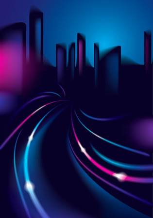 Light trails on the street of big city in the night. Effect vector beautiful background. Blur colorful dark background with cityscape, buildings silhouettes skyline. Illustration