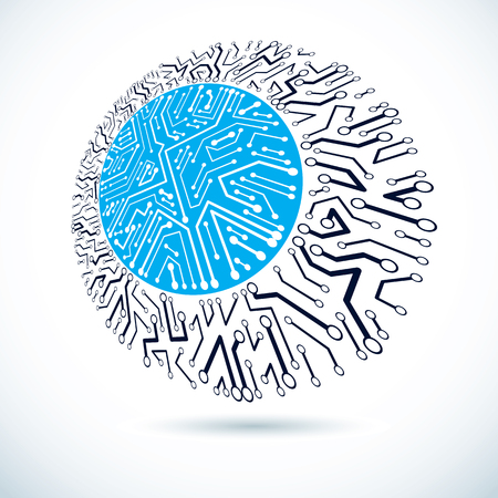 Futuristic cybernetic round scheme, vector motherboard illustration. Digital element, circuit board. Illustration