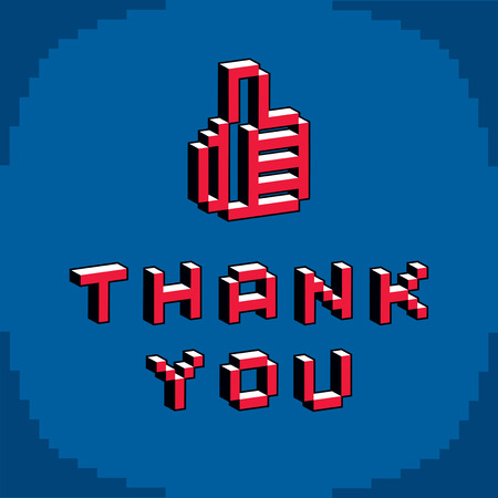 Thank you phrase with a thumb up symbol created in digital technology style, vector 8 bit positive hand gesture. Pixel art inscription. Çizim