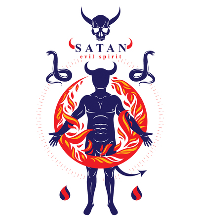 Vector graphic illustration of strong horned wicked male, body silhouette surrounded by a fireball. Demonic infernal creature, Baphomet. Illustration