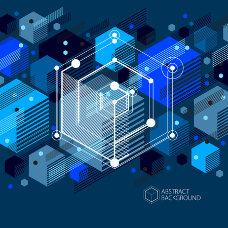 Technical blueprint, vector blue black digital background with geometric design elements, cubes. Engineering technological wallpaper made with honeycombs.