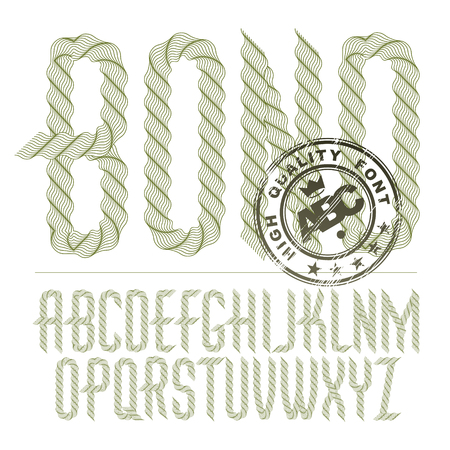 Vector capital condensed alphabet letters collection made with spirograph pattern Illustration