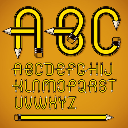Vector capital alphabet letters collection made using office supplies design, wooden pencils. Illustration
