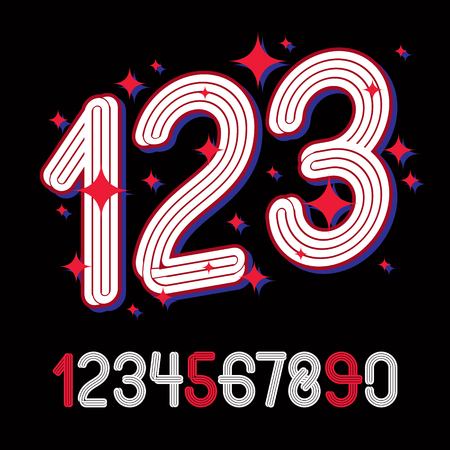 Vector funky rounded numerals collection made with parallel stripes, for use in logo design for nightclub advertising.
