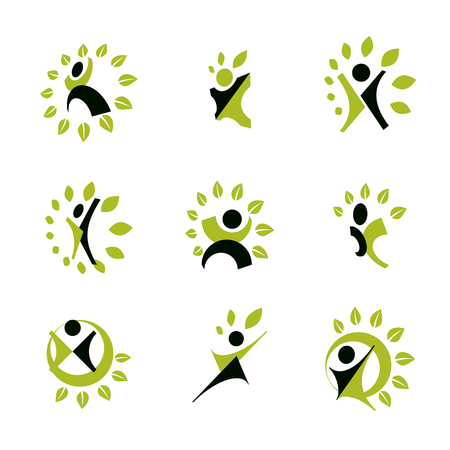 Vector illustrations set, excited abstract person with raised hands up. Иллюстрация