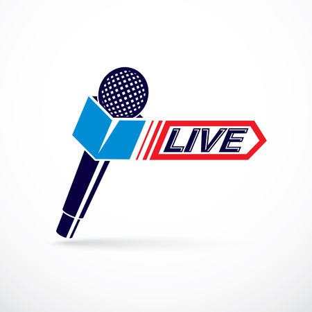Live reportage conceptual logo, vector illustration created with microphones equipment and live writing. Illustration