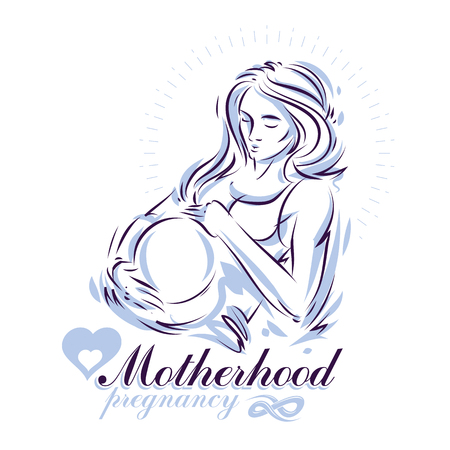 Pregnant female beautiful body outline, mother-to-be drawn vector illustration. Pregnancy support and mother care advertising flyer 矢量图像