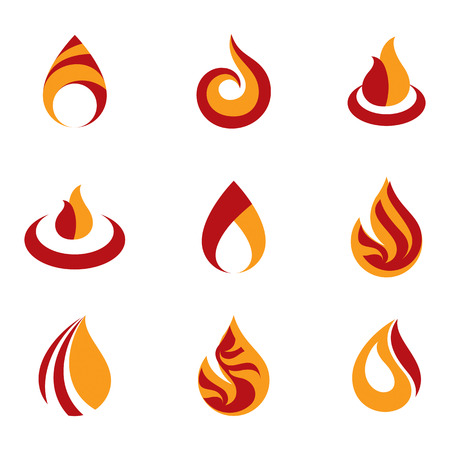 Set of vector fire illustrations, hot burning flame symbols best for use as petrol and gas advertising metaphor. Illustration