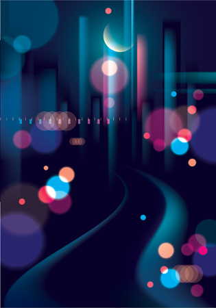 Blurred street lights, urban abstract background. Effect vector beautiful background. Big city nightlife. Blur colorful dark background with cityscape, buildings silhouettes skyline. Illustration
