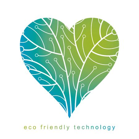 Vector illustration of futuristic tree in shape of heart, technology and science conceptual design. Ecology conservation concept.