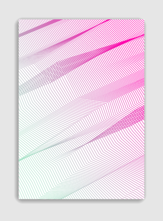 Abstract line art vector minimal contemporary brochure design, cover template, geometric halftone gradient. For Banners, Placards, Posters, Flyers. Beautiful and special, pattern texture.  イラスト・ベクター素材